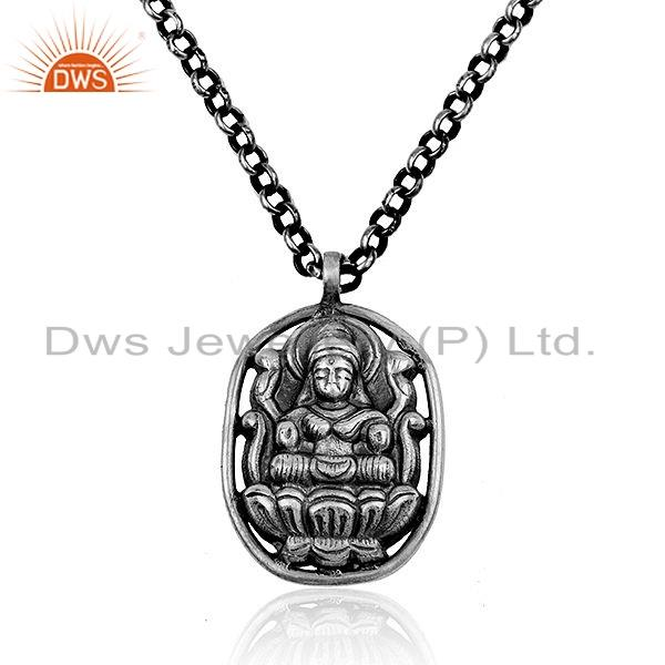 Oxidizes 925 Sterling Plain Silver Temple Tribal Chain Pendant Jewelry