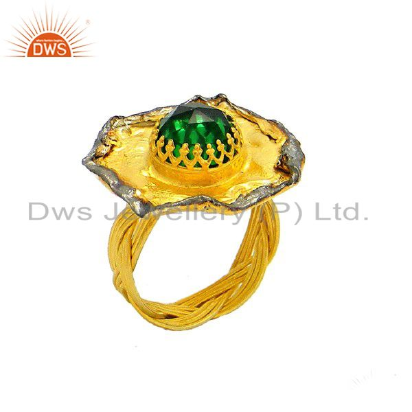 22K Yellow Gold Plated Sterling Silver Natural Emerald Designer Cocktail Ring