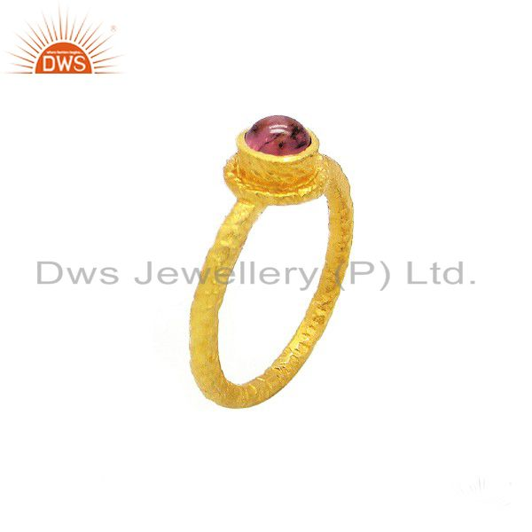 925 Sterling Silver Pink Tourmaline Gemstone Stack Ring With Gold Plated