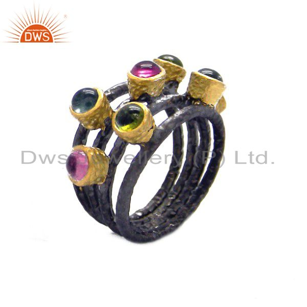 Oxidized And 18K Yellow Gold Plated Sterling Silver Multi Tourmaline Ring