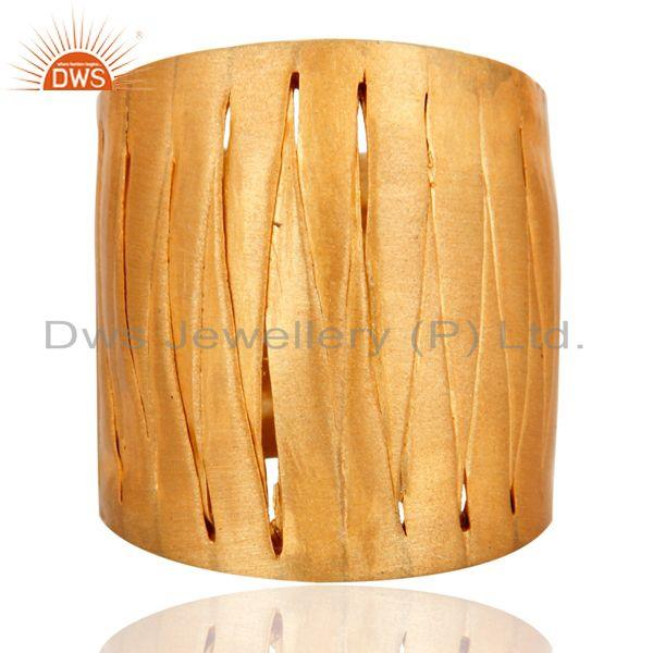 Handcrafted .925 Sterling Silver Weave Designer Band Ring 18 K Gold Plated
