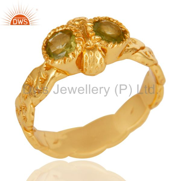 18k Gold Plated Sterling Silver Hammered Sterling Silver Peridot Gemstone Ring