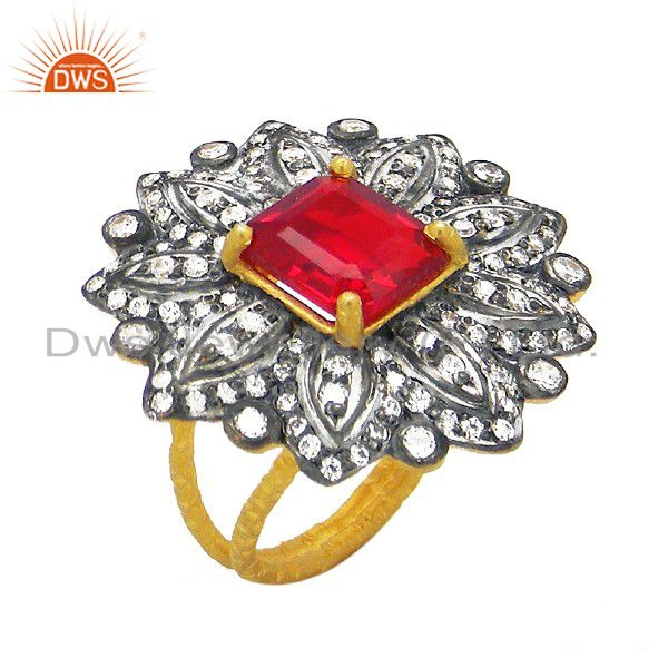 18K Gold Plated Sterling Silver Cubic Zirconia And Red Glass Cocktail Ring