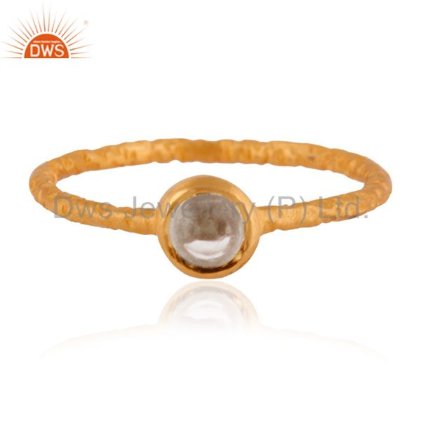 Handmade Sterling Silver Clear Quartz Crystal Stacking Ring W/ 18k Gold Plated