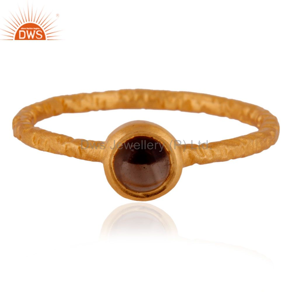 18K Yellow Gold Plated Smoky Quartz 925 Silver Stackable Fashion Design Ring