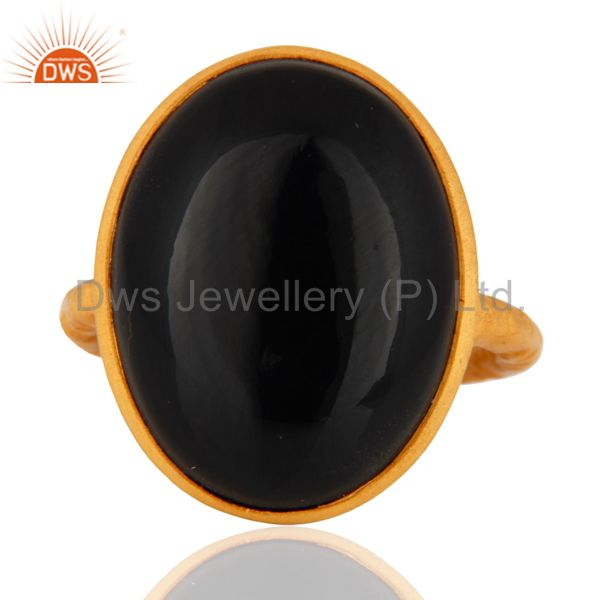 Handmade Gold Plated Sterling Silver Bezel Black Onyx Gemstone Cocktail Rings