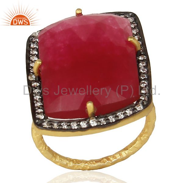 925 Sterling Silver Gold Plated Red Onyx Faceted Gemstone Ring With Pave CZ