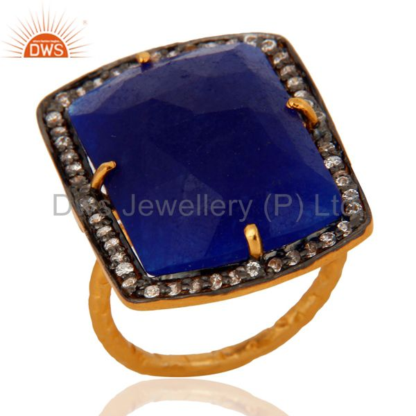 18K Gold Plated 925 Sterling Silver Faceted Semi-Precious Blue Aventurine Ring