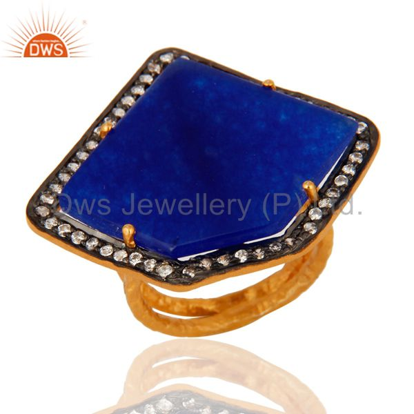 White Zircon & Blue Aventurine Designer Ring Made In 22k Gold Over Silver 925