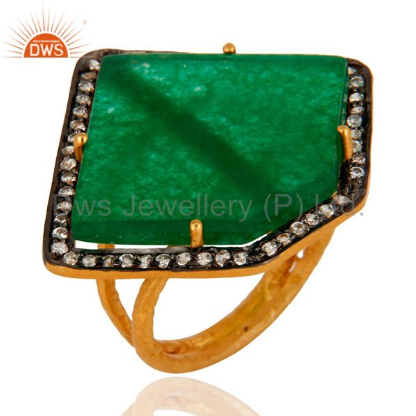 18K Gold Plated 925 Sterling Silver Green Onyx Gemstone Slice Prong Setting Ring