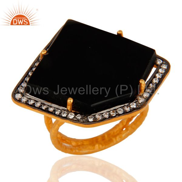 18K Gold Plated Sterling Silver Designer Ring With Black Onyx & CZ