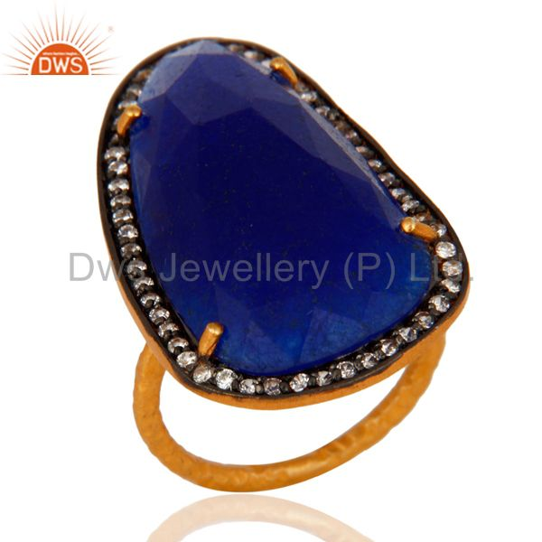 Blue Aventurine Gemstone Designer Ring With CZ In 22K Gold Over Sterling Silver