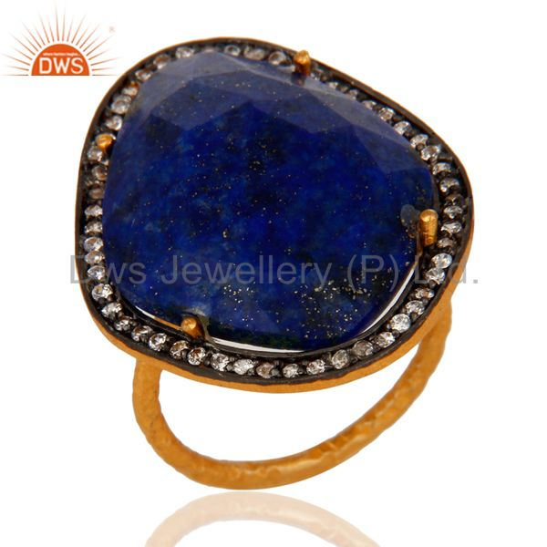 Natural Lapis Lazuli Gemstone Handcrafted Sterling Silver With Gold Plated Ring