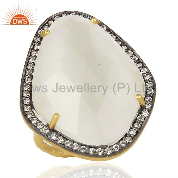 White Moonstone CZ Statement 14K Gold Plated 925 Sterling Silver Ring Jewelry