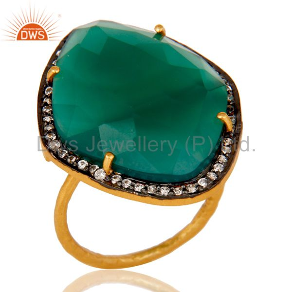 Natural Faceted Green Onyx Gemstone & CZ Sterling Silver Ring With Gold Plated