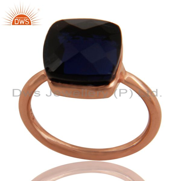 18K Rose Gold Plated Sterling Silver Sapphire Blue Corundum Stackable Ring
