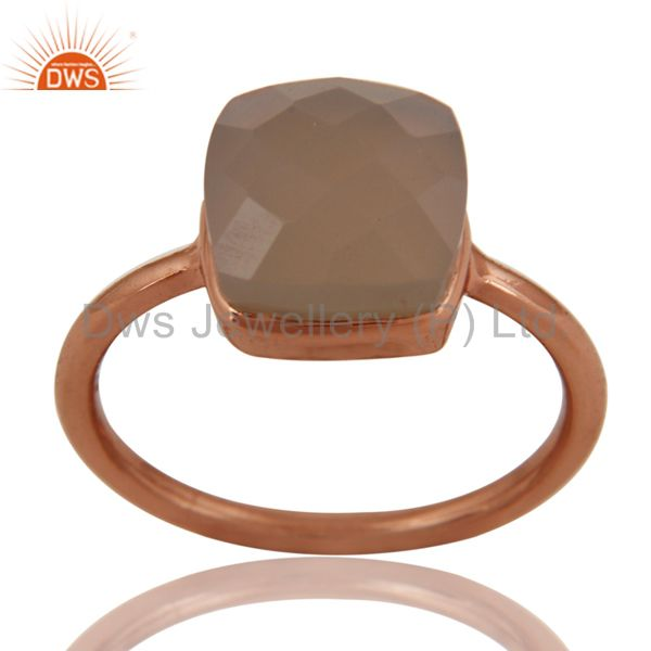 Gray Chalcedony Sterling Silver Bezel-Set Ring With 18K Rose Gold Plated