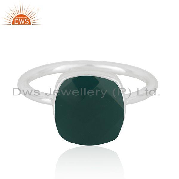 Handmade 925 Sterling Fine Silver Green Onyx Gemstone Ring Manufacturer in India