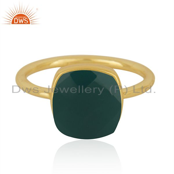 Gold Plated Sterling Silver Faceted Green Onyx Gemstone Bezel Set Handmade Ring