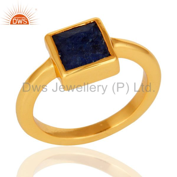 14K Gold Plated Sterling Silver Dyed Blue Sapphire Princess Cut Stacking Ring