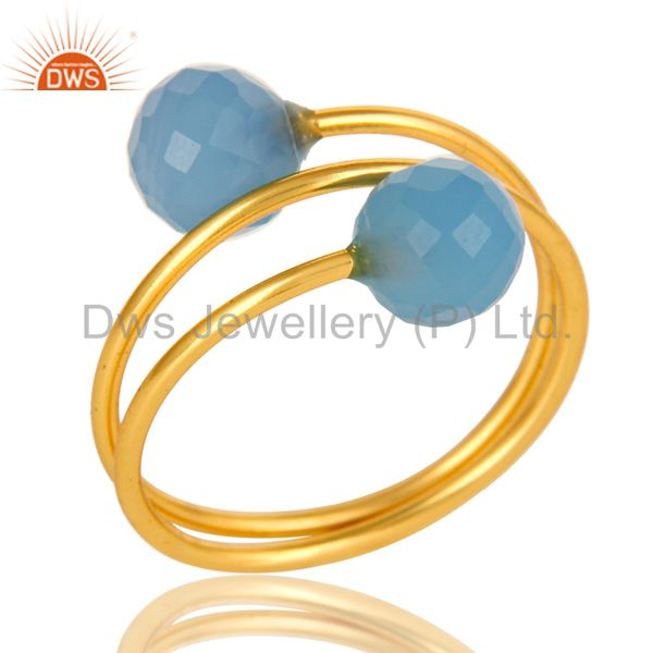 14K Yellow Gold Plated Sterling Silver Blue Chalcedony Adjustable Ring