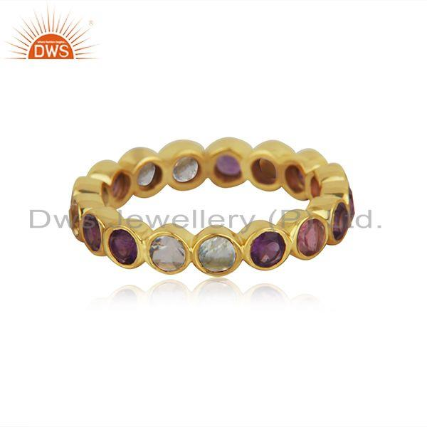 Citirine and Amethyst Gemstone Gold Plated 925 Silver Band Rings