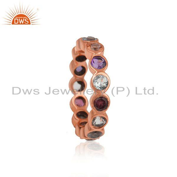 Citrine Amethyst Gemstone Rose Gold Plated Silver Band Ring Jewelry
