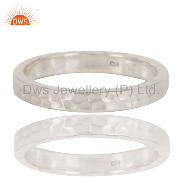 Handmade Solid Sterling Silver Hammered Mens Wedding Band Ring