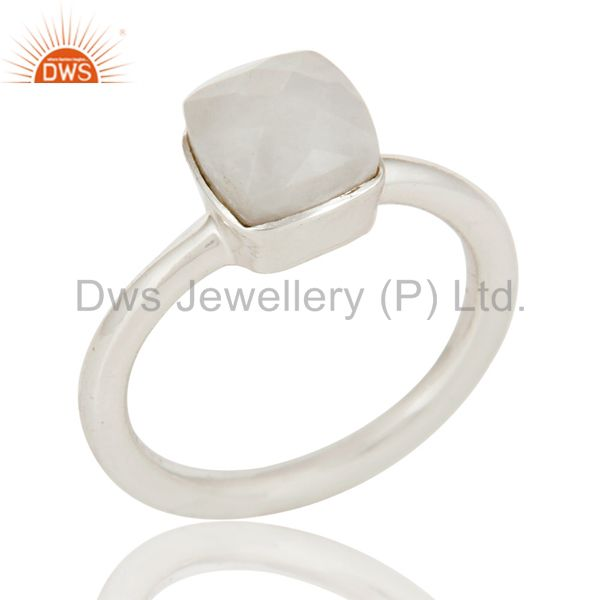 Handmade 925 Sterling Silver White Agate Gemstone Stackable Ring