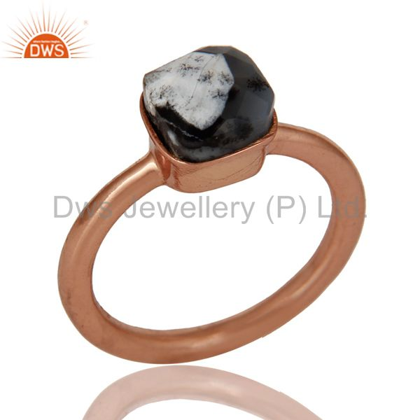 18K Rose Gold Plated Sterling Silver Dendritic Opal Gemstone Stackable Ring