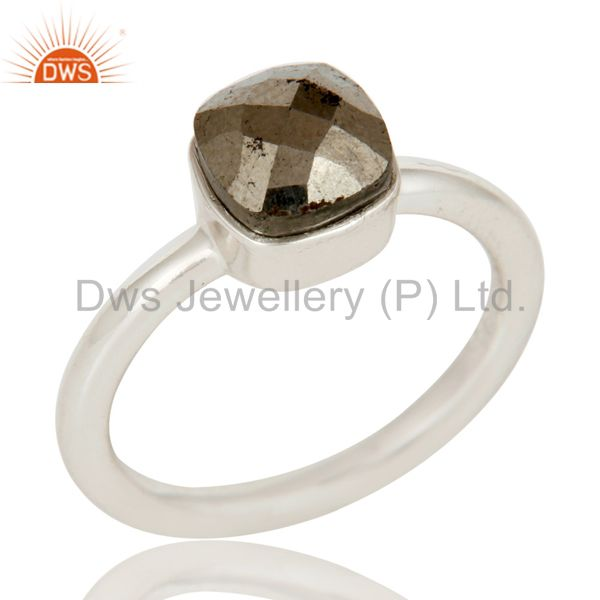 Handmade 925 Solid Sterling Silver Golden Rose Cut Pyrite Stackable Ring
