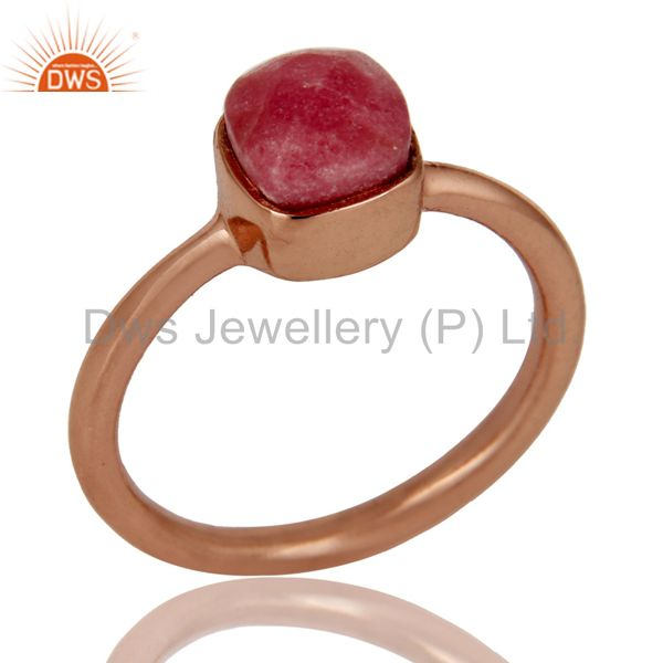 18K Rose Gold Plated Sterling Silver Rhodonite Gemstone Stackable Ring