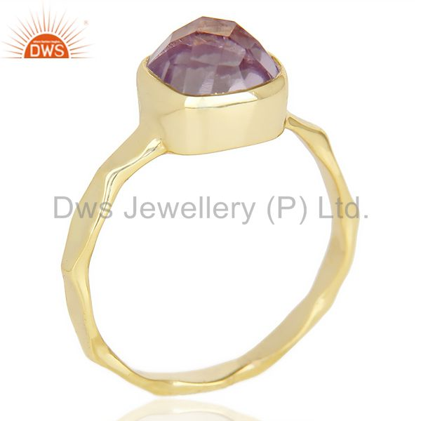 Natural Amethyst Cushion Shape Studded Gold Plated Hammered Silver Ring