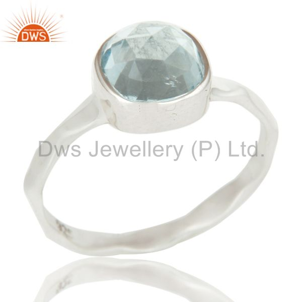 Sterling Silver Blue Topaz Hand Hammered Stackable Ring