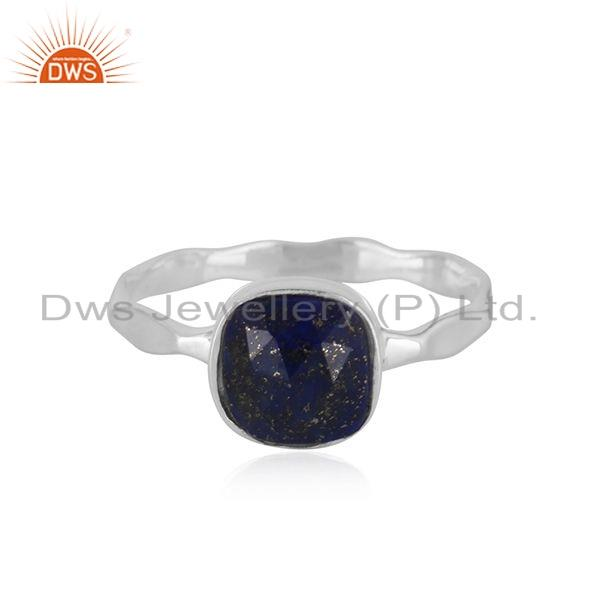 Natural Lapis Gemstone Handmade Sterling Silver Ring Jewelry For Girls