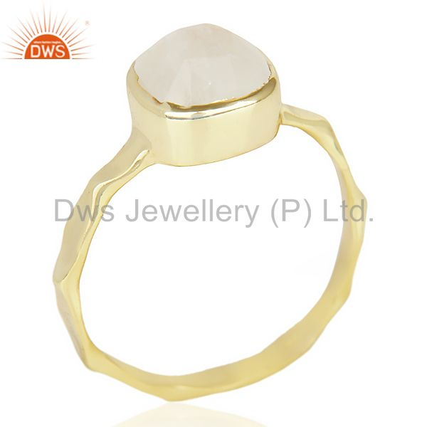 Natural Rainbowmoon Stone Cushion Shape Gold Plated Hammered Ring  In Silver