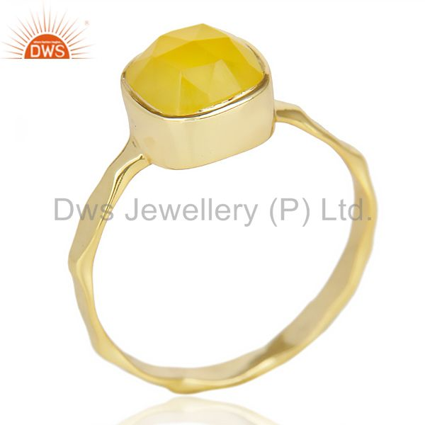 Yellow Chalcedony Cushion Shape Gold Plated Hammered Ring  In Solid Silver