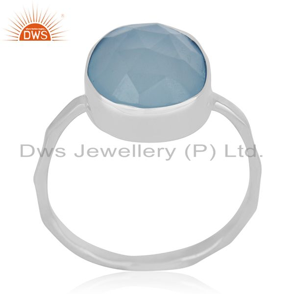Handmade 925 Silver Blue Chalcedony Gemstone Ring Manufacturers from India