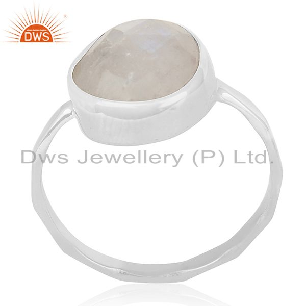 Rainbow Moonstone 925 Sterling Silver Handmade Ring Manufacturer of Jewelry