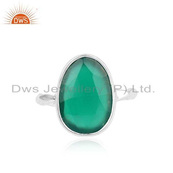 Natural Green Onyx Gemstone Womens Sterling Fine Silver Ring Jewelry