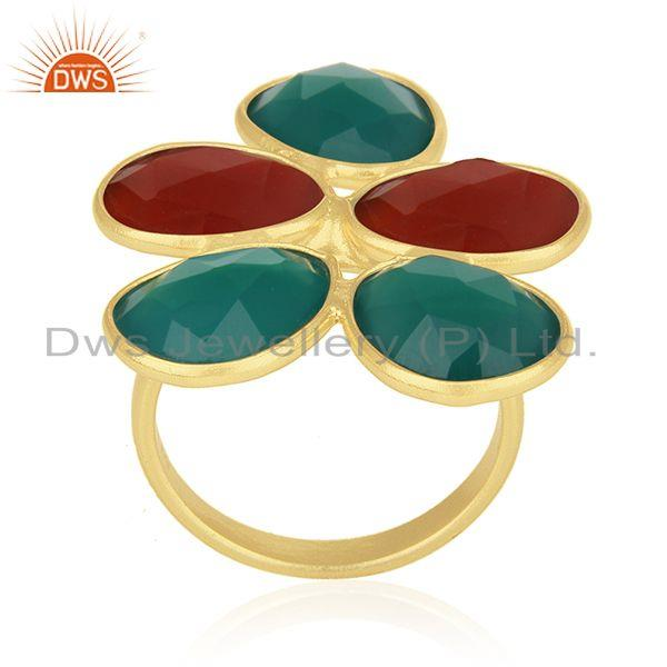 Red and Green Onyx Gemstone Gold Plated 925 Silver Statement Ring Manufacturer