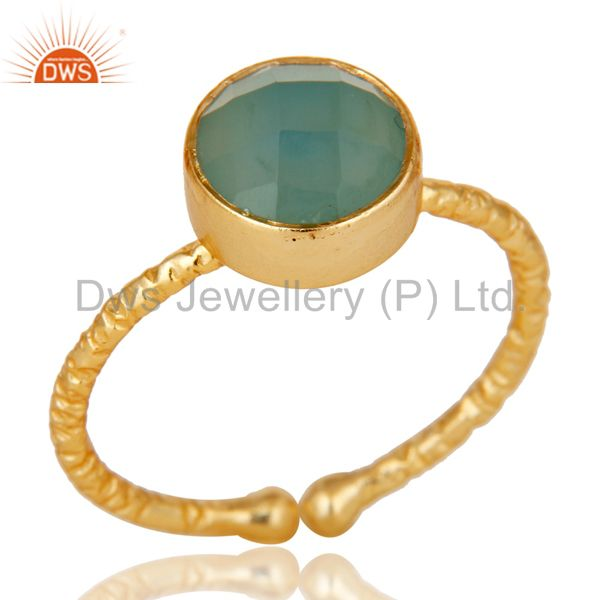 18k Gold Plated Sterling Silver Stackable Ring with Chalcedony