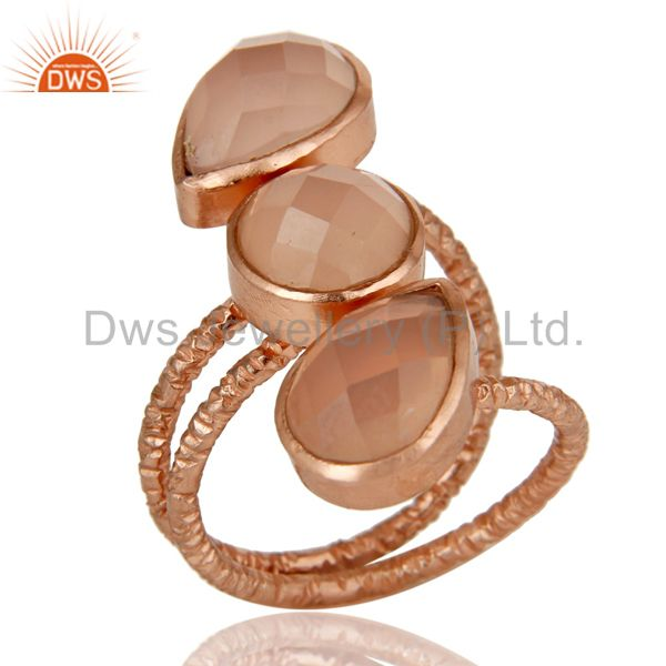 Lovely Chalcedony Sterling Silver Prong Set Joint Ring with 18k Rose Gold Plated