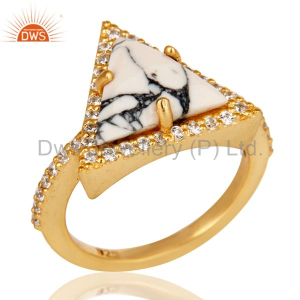 18K Gold Plated Sterling Silver White Howlite & White Zirconia Statement Ring
