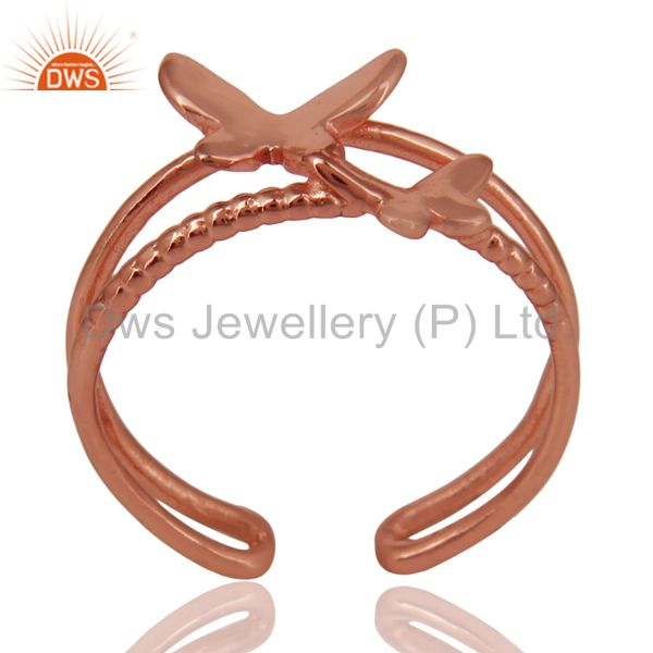 14K Rose Gold Plated Sterling Silver Handmade Butterfly Design Stackable Ring