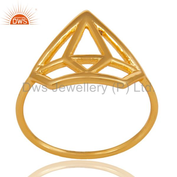 14K Gold Plated 925 Sterling Silver Handmade Without Stone Style Stackable Ring