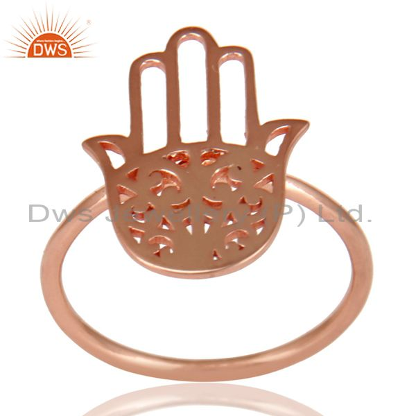 14K Rose Gold 925 Sterling Silver Handmade Art Hand Design Cocktail Ring