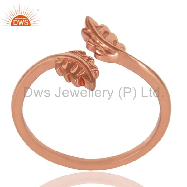 14K Rose Gold Plated Sterling Silver Handmade Leaf Band Design Stackable Ring