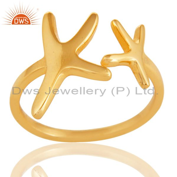 14K Yellow Gold Plated 925 Sterling Silver Handmade Without Stone Fashion Ring