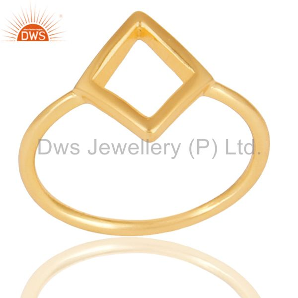 14K Yellow Gold Plated Sterling Silver Handmade Art Without Stone Fashion Ring